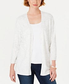 Karen Scott Ribbed-Yoke Cardigan Sweater, Created for Macy's