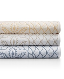 Westpoint Rosa Floral Medallion Sculpted Cotton Bath Towel Collection, Created for Macy's