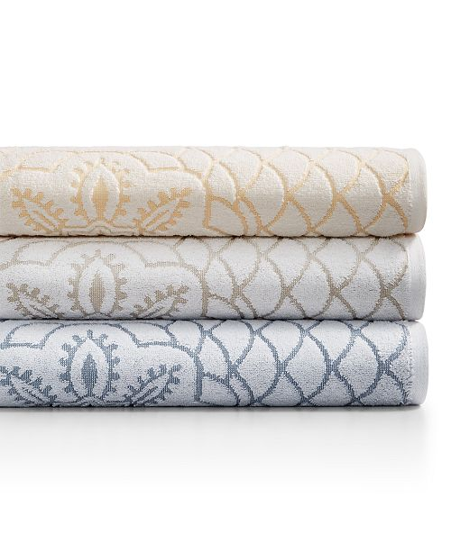Martex  CLOSEOUT! Rosa Floral Medallion Sculpted Cotton Bath Towel Collection, Created for Macy's