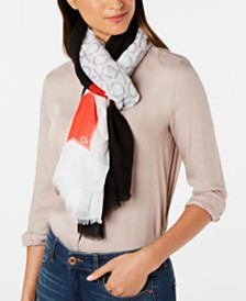 Calvin Klein Spliced Colorblocked Logo Scarf