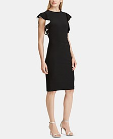 Contrast Flutter-Sleeve Jersey Dress, Regular & Petite Sizes