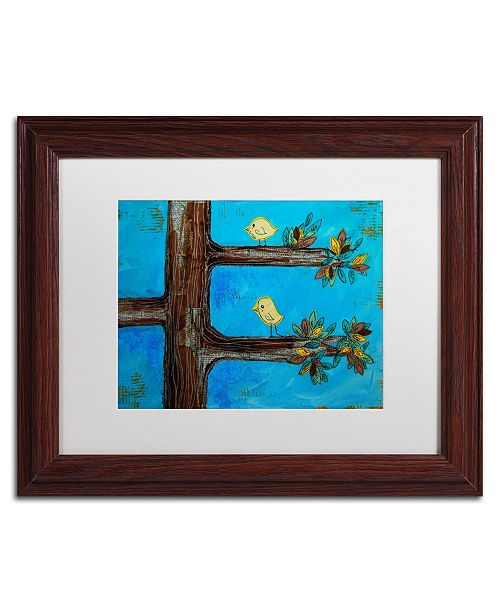 "Trademark Global Nicole Dietz 'Birds in a Tree Mixed Media' Matted Framed Art - 14"" x 11"""