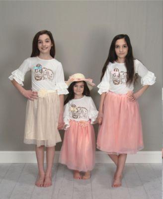 Mi Amore Gigi Girls Cream Ruffle Bunny Graphic Interchangeable Bow Top