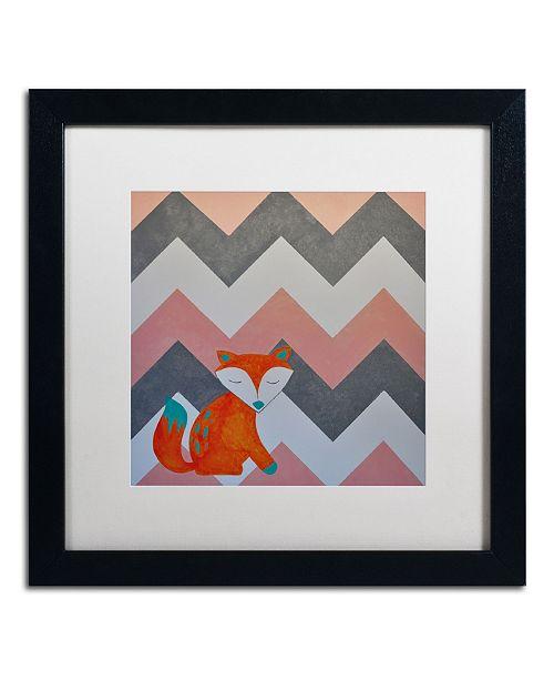 "Trademark Global Nicole Dietz 'Fox on Chevron' Matted Framed Art - 16"" x 16"""
