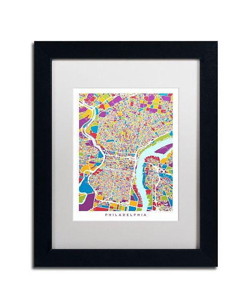 """Trademark Global Michael Tompsett 'Philadelphia Street Map III' Matted Framed Art - 11"""" x 14"""""""