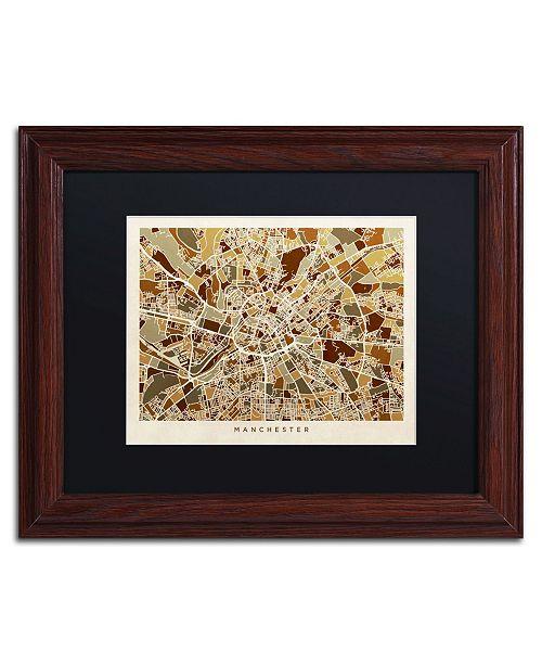 """Trademark Global Michael Tompsett 'Manchester England Street Map II' Matted Framed Art - 11"""" x 14"""""""
