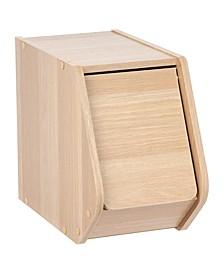 Modular Wood Stacking Storage Box With Door, Narrow