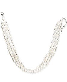 "Cultured Freshwater Pearl (5mm) Three Strand 14"" Choker Necklace in Sterling Silver"
