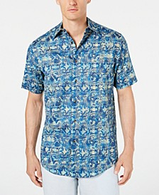 Men's Coprire Printed Stretch Shirt, Created for Macy's