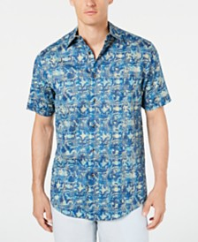 Tasso Elba Men's Coprire Printed Stretch Shirt, Created for Macy's