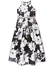 Speechless Big Girls Floral-Print Embellished-Waist Dress