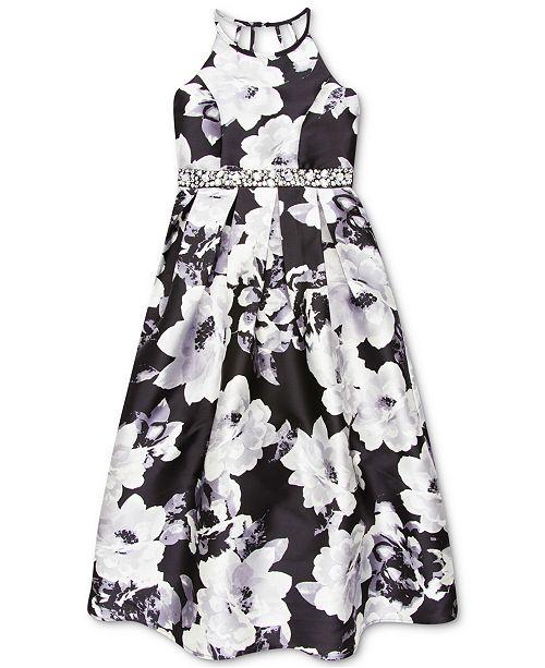 Speechless Big Girls Floral-Print Embellished-Waist Dress