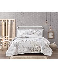 Cottage Classics Kamala Floral Cotton Piece 3 Piece Full/Queen Quilt Set