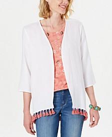 Cotton Tassel-Trim Kimono Top, Created for Macy's