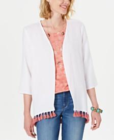 Style & Co Cotton Tassel-Trim Kimono Top, Created for Macy's