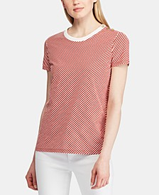 Stripe-Print Button-Shoulder Cotton T-Shirt