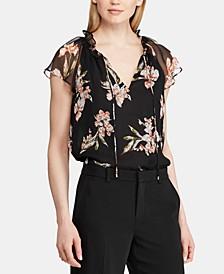 Floral-Print Flutter Cap-Sleeve Georgette Top