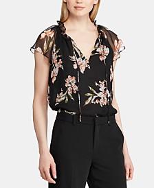 Lauren Ralph Lauren Floral-Print Flutter Cap-Sleeve Georgette Top