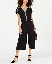 Embroidered V-Neck Jumpsuit, Created for Macy's