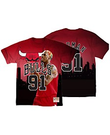 Mitchell & Ness Men's Dennis Rodman Chicago Bulls City Pride Name And Number T-Shirt