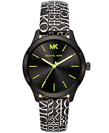 Women's Slim Runway Black Logo Leather Strap Watch 38mm