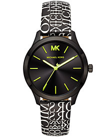 Michael Kors Women's Slim Runway Black Logo Leather Strap Watch 38mm