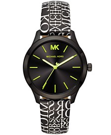 Michael Kors Women's Slim Runway Black Logo Leather Strap Watch 38mm