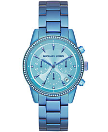Michael Kors Women's Ritz Iridescent Blue IP Stainless Steel Bracelet Watch 37mm