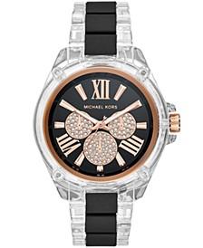 Women's Wren Clear Acetate  Black Silicone Bracelet Watch 42mm