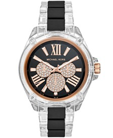 Michael Kors Women's Wren Clear Acetate  Black Silicone Bracelet Watch 42mm