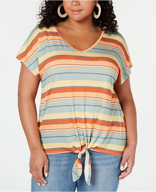 Style & Co Plus Size Striped Tie-Front Top, Created for Macy's
