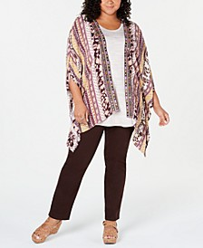 Plus Size Printed Embroidered Kimono, Created for Macy's