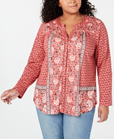 Style & Co Plus Size Mixed-Print Split-Neck Top, Created for Macy's