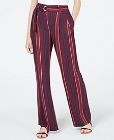 Juniors' Striped Belted Wide-Leg Pants