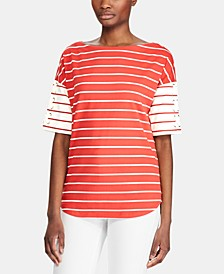 Stripe-Print Lace-Up Sleeve Cotton Top