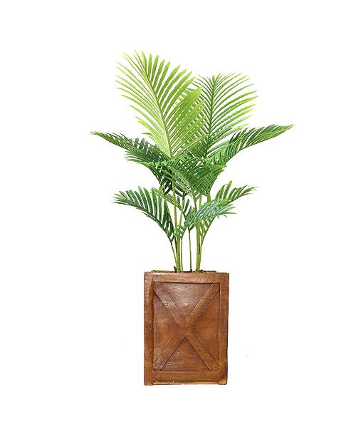 "Laura Ashley 53"" Real Touch Palm Tree in Fiberstone Planter"