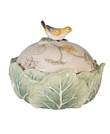 Fitz & Floyd  Fattoria Covered Dish with Bird Knob