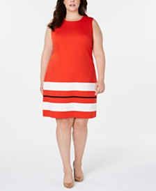 Calvin Klein Plus Size Sleeveless Striped-Hem Sheath Dress
