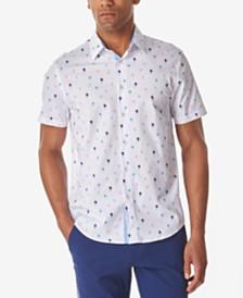 Tallia Men's Mini Palm Tree Slim Fit Woven Shirt