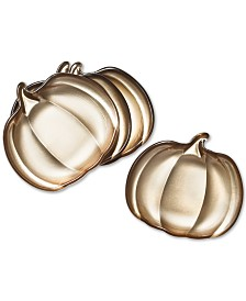Martha Stewart Collection Pumpkin Appetizer Plates, Set of 4, Created for Macy's
