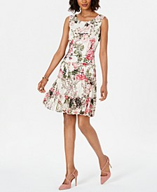 Floral-Print Lace Fit & Flare Dress