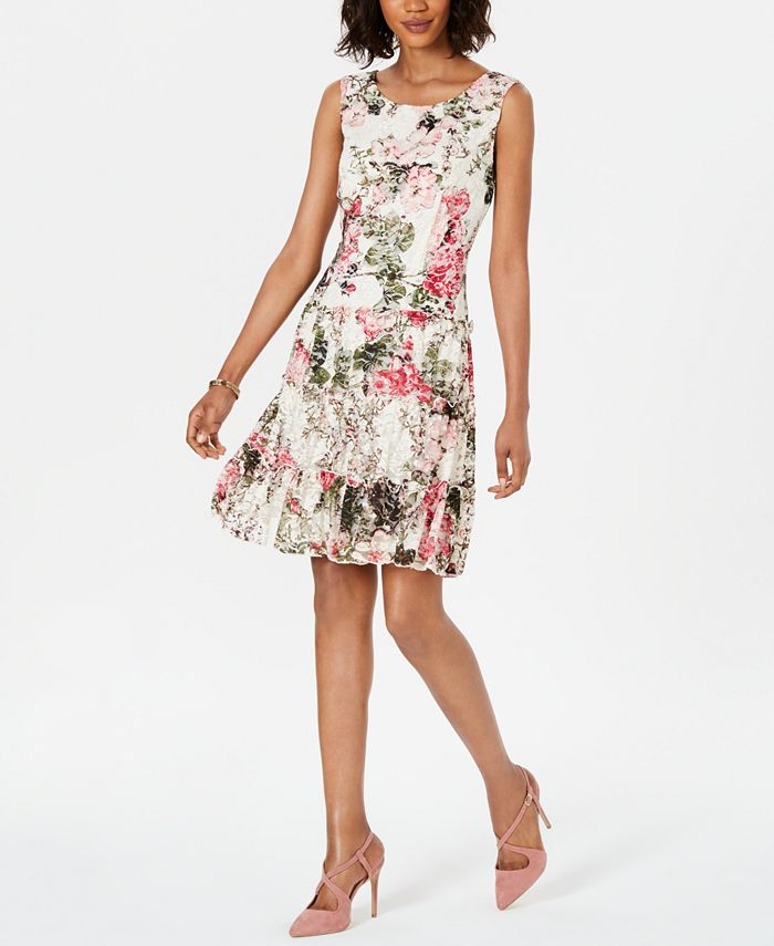 Connected - Floral-Print Lace Fit & Flare Dress