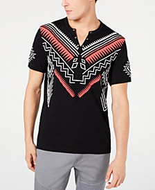 INC Men's Split-Neck Geometric T-Shirt, Created for Macy's