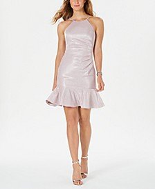Ruched-Side Flounce-Hem Dress