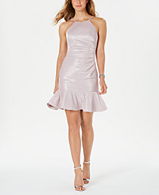 Nightway Ruched-Side Flounce-Hem Dress