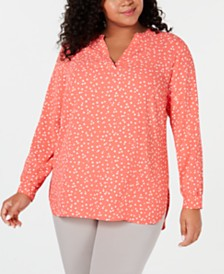 Anne Klein Plus Size Printed Split-Neck Top