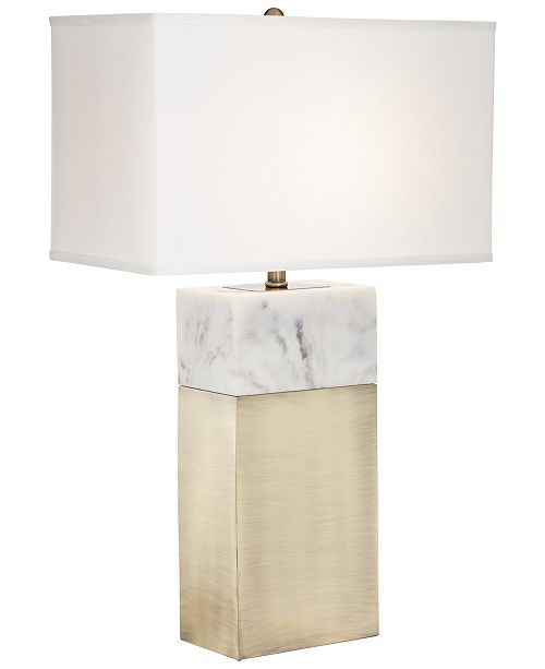 Kathy Ireland Pacific Coast Faux Marble with Ant Brass Table Lamp