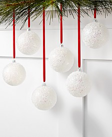 Dreamland Set of 6 Shatterproof White Glitter Ornaments, Created for Macy's