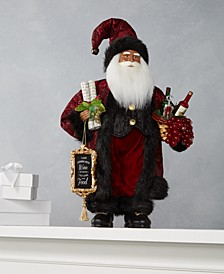 "18"" Standing African American Santa with Wine & Wine List, Created for Macy's"