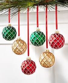 Christmas Cheer Set of 6 Shatterproof Red, Gold, Green Diamond Shape Ornaments, Created for Macy's